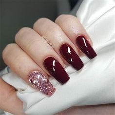 Pink Tip Nails, Red Stiletto Nails, Red Acrylic Nails, Acrylic Nail Designs, Glitter Nails, Nail Art Designs, Red Nail, Wine Nails, Popular Nail Colors