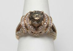 New Original 18kt. Rose Gold Fancy Eddie LeVian Ring Chocolate & White Diamonds at Keswick Jewelers in Arlington Heights, IL 60005, www.keswickjewelers.com