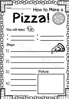 Hey there, I love teaching procedure writing. It must be my love of organization and structure! And I think most kids enjoy it, especially if it's fun and about food. The idea of writing about pizz… First Grade Writing Prompts, Fifth Grade Writing, Kindergarten Writing Prompts, Writing Classes, Writing Lessons, Teaching Writing, How To Teach Writing, Literacy, 1st Grade Worksheets