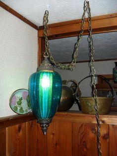 ooh an aqua colored glass swag lamp