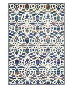 Another great find on #zulily! Blue & White Lattice Lyon Rug #zulilyfinds
