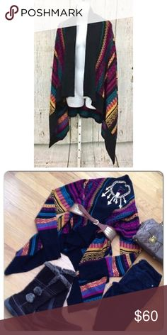 Aztec Southwestern Open Front Womens Wrap Cardigan Jeans By Buffalo Village Aztec Southwestern Open Front Womens Wrap Cardigan Sz M 100% acrylic Urban Outfitters Sweaters Cardigans