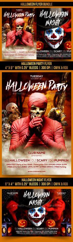 Halloween Flyer Bundle by Gugulanul Halloween Party Flyer, Halloween Night, Fall Halloween, Scary Pumpkin, Club Parties, Best Part Of Me, Flyer Template, Print Design, Presents