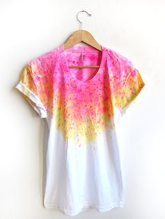 The Original Splash Dyed Hand PAINTED Scoop Neck Pinned Rolled Cuffs Tee in White Spectrum Acid Pink - S M L XL 2XL 3XL via Etsy