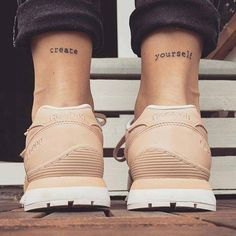 Create Yourself Written Co-ordinating Tattoo For Both Legs #Minimalisttattoo #Tattoos #Tattooart  #Tattooideas #Legstattoo #Coordatingtattoo #Bothlegtattoo