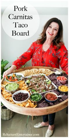 For game day or any gathering, serve an Easy Pork Carnitas Taco Board! Enjoy a delicious shredded pork with all your favorite Mexican toppings. Charcuterie And Cheese Board, Charcuterie Platter, Cheese Boards, Party Food Platters, Food Trays, Pork Recipes, Mexican Food Recipes, Cooking Recipes, Pork Carnitas Tacos