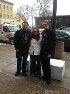 The Delmar Loop Ice Carnival 2014.  Actors Alexander L. Hylton (left) and Taylor Frame (right) with Tesseract Assistant Artistic Director, Brittanie Boado.
