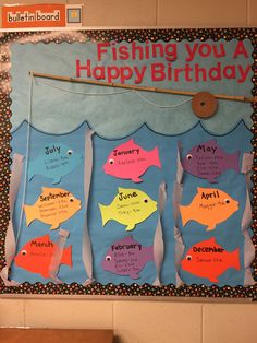 31 Ideas Birthday Board Ideas For Work Preschool Bulletin Summer Bulletin Boards, Birthday Bulletin Boards, Preschool Bulletin Boards, Classroom Bulletin Boards, Preschool Birthday Board, Birthday Chart For Classroom, Ocean Bulletin Board, Bullentin Boards, Toddler Classroom