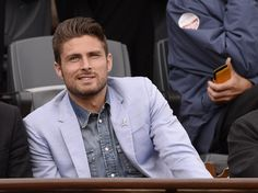 The handsome footballer, who plays for Arsenal ,Olivier Giroud, was present in the stands at Roland Garros in May 2013.