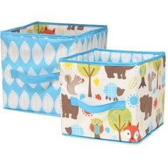 Little Bedding by Nojo Woodlands Collapsible Storage Bin, 2-Pack, Brown