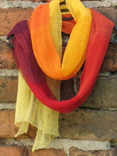 Linen Scarf Shawl Wrap Stole  yellow orange red by Coloredworld, $87.00