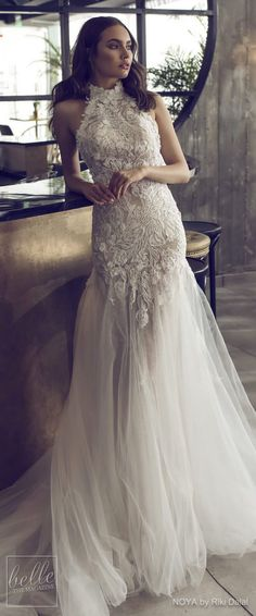 NOYA By Riki Dalal Wedding Dresses Spring 2019 : Forever Bridal Collection - ELEANOR - Lace Halter neckline heavily embellished bodice elegant mermaid wedding dress chapel train. Romantic modern bridal gown | #weddingdress #weddingdresses #bridalgown #bridal #bridalgowns #weddinggown #bridetobe #weddings #bride #weddinginspiration #weddingideas #bridalcollection #bridaldress #fashion #dress See more gorgeous bridal gowns by clicking on the photo
