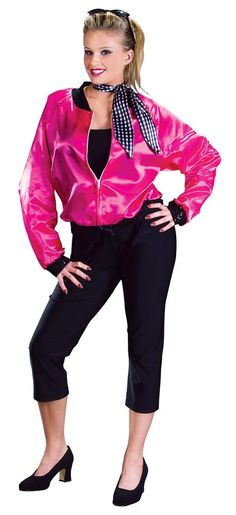 Adult Costumes - This costume includes the T-Bird Sweetie hop pink costume jacket with black trim with Pink Ladies printed on back with silver glitter, black pants and the neck scarf. Grease Halloween Costumes, Sock Hop Costumes, Halloween Costumes For Teens, Theme Halloween, Adult Costumes, Costumes For Women, Halloween Ideas, 1950s Costumes, Adult Halloween
