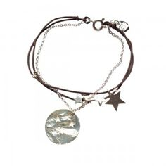 Bracelet cordon chaine pampille étoile argent couleur cordon taupe