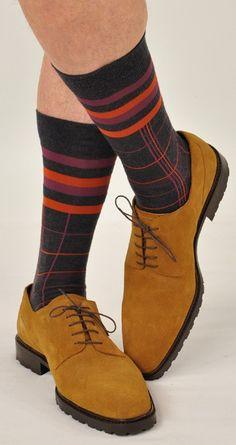 Marcoliani Milano Men's Luxury Socks Made in Italy - Asphalt Grey Stripe Mid Calf Striped Socks