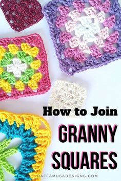 10 Ways to Join Granny Squares • RaffamusaDesigns Crochet Blocks, Crochet Squares, Crochet Granny, Crochet Motif, Crochet Designs, Crochet Stitches, Crochet Patterns, Crochet Ideas, Crochet Tutorials