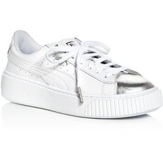 Puma Women's Basket Lace Up Platform Sneakers (2,030 MXN) ❤ liked on Polyvore featuring shoes, sneakers, lace up shoes, puma trainers, metallic shoes, white lace up sneakers and white leather shoes