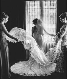 beautiful shot of bride getting ready