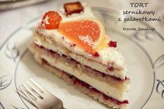 Tort sernikowy z galaretkami w cukrze