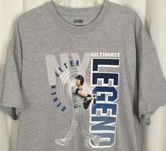 SYTp New York Yankees Derek Jeter Ultimate Legend T Shirt 2XL Gray Portrait Top #PortCompany #ShirtsTops