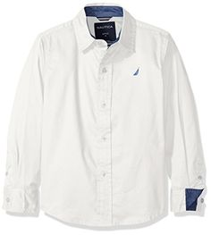 Nautica Boys' Solid Twill Long Sleeve Woven Shirt *** Click here for more details @