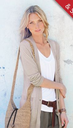 I love the earthy tones and the belt underneath the cardigan.