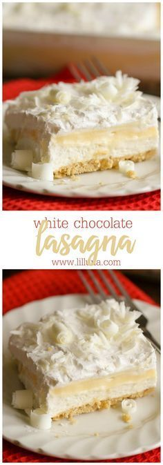 White Chocolate Lasagna - a delicious, layered dessert with cream cheese pudding, Golden Oreos and topped with white chocolate curls.