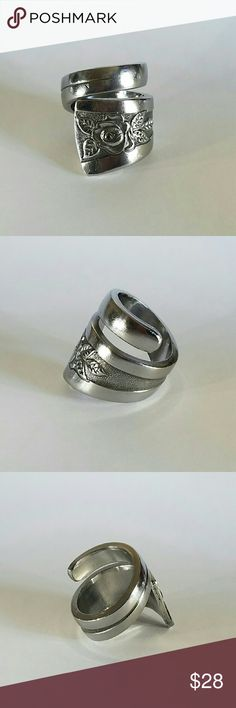 Gorgeous stainless steel spoon ring. Gorgeous stainless steel spoon ring.  Elegant floral design. R135 www.spoonmebabydesigns.com Jewelry Rings