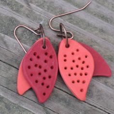 Double Leaf Polymer Clay Earrings
