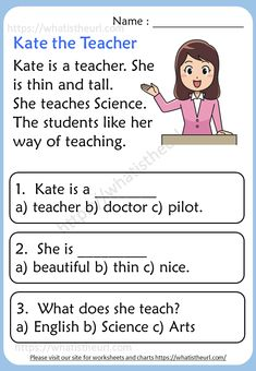 Kindergarten Reading Comprehension Passages - Your Home Teacher First Grade Reading Comprehension, Reading Comprehension Worksheets, Reading Fluency, Reading Passages, Comprehension Strategies, Reading Response, English Stories For Kids, English Grammar For Kids, English Lessons For Kids