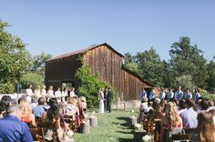 Laid Back Cali Wedding: Juliann + Stephen Love the wooden stumps down the aisle