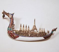 Vintage Siam Sterling Silver Dragon Boat Pin by GretelsTreasures ~ETS #dragon #boat #brooch