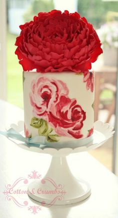 Hand painted red peony cake. wow, would love to learn to paint like that!