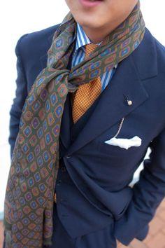 lnsee:  Details: Liverano Suit, Shirt & TieDrake's Wool Silk Scarf & Pocket SquareThe Armoury Lapel Pin