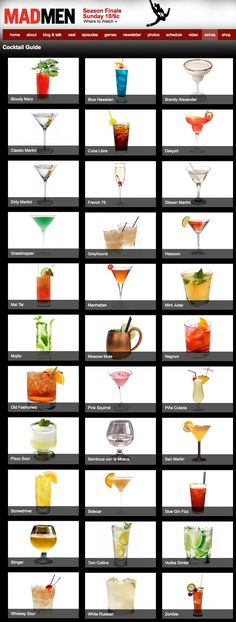 Mad Men Cocktail Guide: Making me think of damp, humid summer afternoons and…