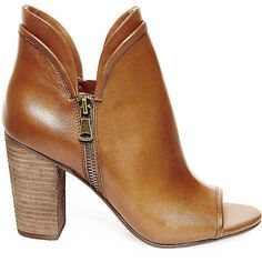 Steve Madden Women's Philygal Booties (1.250 ARS) ❤ liked on Polyvore featuring shoes, boots, ankle booties, ankle boots, cognac le, high heel booties, open toe boots, high heel boots, stacked heel booties and steve madden bootie