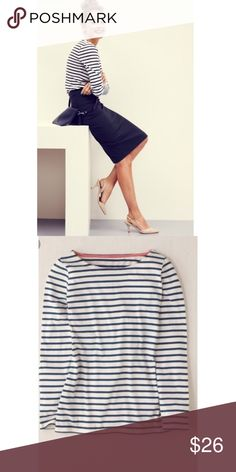 Boden long sleeved Tee Perfect condition navy blue & white long sleeved tee, can be paired with cute skirt or dressed down with skinny jeans & converse sneaks. Comes from smoke free home. Boden Tops Tees - Long Sleeve