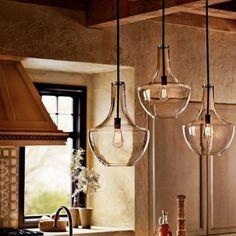 Kitchen Island Lighting, Kitchen Lighting Fixtures, Light Fixtures, Kitchen Pendant Lighting, Kitchen Islands, Kitchen Remodel Cost, Bathroom Remodeling, Overhead Lighting, Lighting Ideas