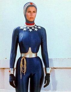 Wonder Woman in her aqua suit.