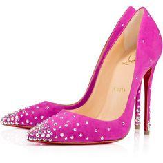 Designer Clothes, Shoes & Bags for Women Clear Heel Shoes, Clear High Heels, High Heel Pumps, Pumps Heels, Suede Pumps, Louboutin Pumps, Dressy Shoes, Fancy Shoes, Pink Shoes