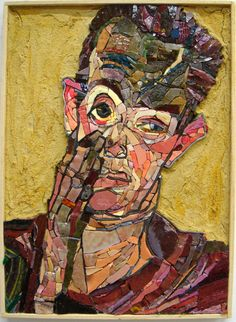 after Egon Schiele's SELF PORTRAIT WITH HAND ON CHEEK - conceived by Adrian Scaunich, executed at Scuola Mosaicisti del Friuli