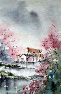 beautiful landscape, mixed media (must bear in mind possibilities - watercolor scenery painting Easy Landscape Paintings, Scenery Paintings, Abstract Landscape, Water Colour Landscape, Indian Paintings, Watercolor Scenery Painting, Painting & Drawing, Watercolor Art Landscape, Watercolor Artists