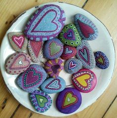 Painted heart rocks - neat idea to make lots, keep a bowl in my office and offer to those that come to visit.