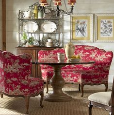 Highland House Furniture: - Rue de Provence Banquette love the toile for my kitchen French Country Dining Room, French Country Kitchens, French Country Bedrooms, French Country Cottage, Country Farmhouse Decor, French Country Style, Cottage Style, French Decor, French Country Decorating