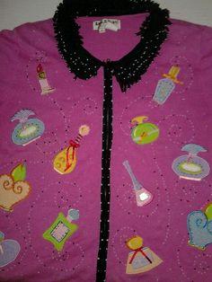 Jack B Quick Pink Cardigan Sweater Glamour Girl Makeup Perfume Purse Theme M #JackBQuick #Cardigan