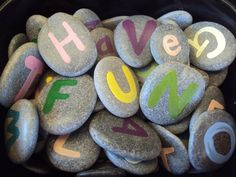 Natural stones for letter recognition or to use for spelling.