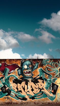 Graffiti wall and sky Beste Iphone Wallpaper, Graffiti Wallpaper Iphone, Wallpaper App, Iphone Wallpapers, Graffiti Wall Art, Street Art Graffiti, Hip Hop Background, Background Pictures, Cool Live Wallpapers