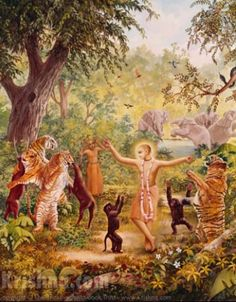 Lord Chaitanya dances with the forest animals