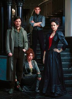 Josh Hartnett (Ethan Chandler), Billie Piper (Lily), Harry Treadaway (Victor Frankenstein) and Eva Green (Vanessa Ives) in 'Penny Dreadful'. The series' costumes are designed by Gabriella Pescucci.