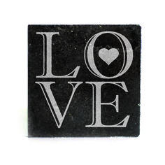 Black Granite Coasters (set of 4) - LOVE